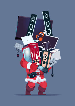 speakers: Santa Holding Computer And Modern Electronics Gadgets Cyber Monday Sale Concept Vector Illustration