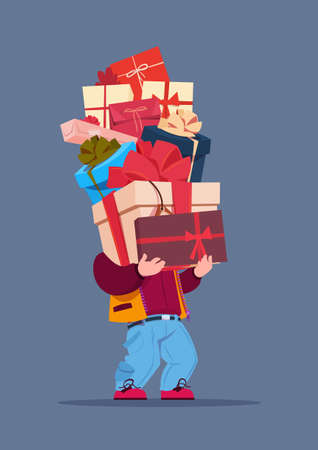 Man Holding Gift Boxes Stack On Gray Background Holiday Presents Concept Vector Illustration Illustration