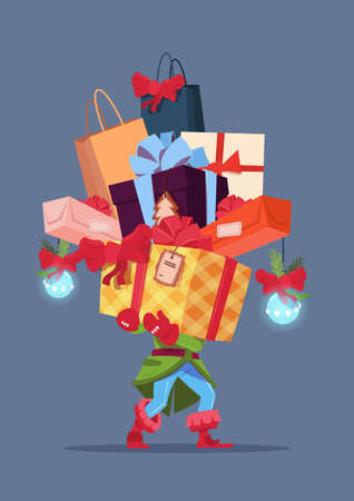 santa helper: Elf Holding Gift Boxes Stack Over Gray Background Christmas Holiday Presents Concept Vector Illustration