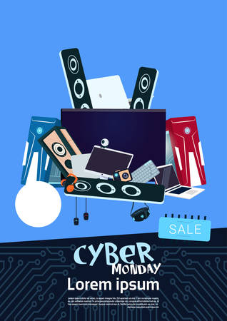Cyber Monday Sale Banner Design With Pile Of Modern Electronics Gadgets On Background Vector Illustration