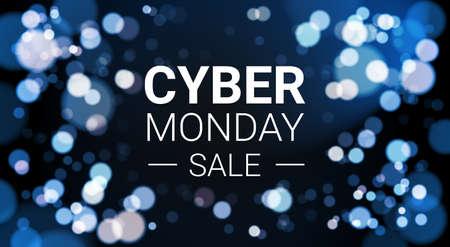 Cyber-Montag-Verkaufs-Flieger-Design mit weißen Lichtern Bokeh auf blauer Hintergrund-Feiertags-Rabatt-Plakat-Fahnen-Vektor-Illustration