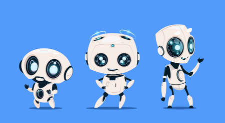 Group Of Modern Robots Isolated On Blue Background Cute Cartoon Character Artificial Intelligence Concept Flat Vector Illustration