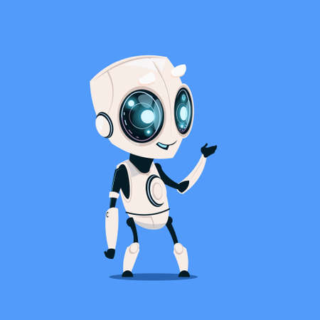 Modern Robot Isolated On Blue Background Cute Cartoon Character Artificial Intelligence Concept Flat Vector Illustration