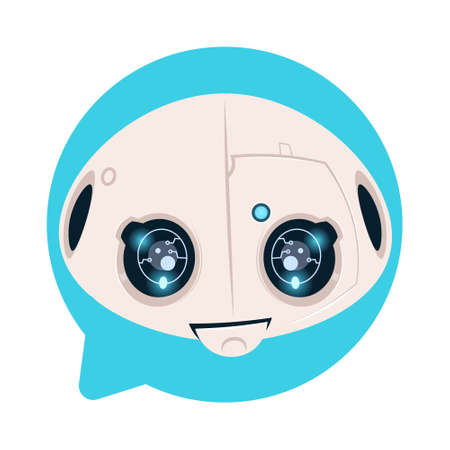 Robot Head Icon In Blue Speech Bubble Support Chat Bot Concept Flat Vector Illustration