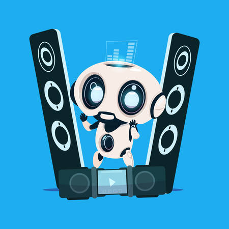 speakers: Modern Robot Standing On Audio Speakers On Blue Background Cute Cartoon Character Artificial Intelligence Concept Flat Vector Illustration