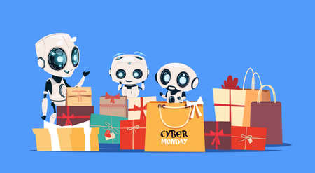 Modern Robots Holding Gift Boxes With Cyber Monday Text Online Holiday Modern Technology Sale Banner Design Flat Vector Illustration