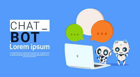 Chat Bot Robots Using Laptop Computer And Hold Speech Bubble Banner With Copy Space, Chatter Or Chatterbot Support Service Concept Flat Vector Illustration