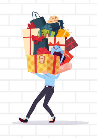 Man Holding Gift Boxes Stack Over White Brick Wall Background Holiday Presents Concept Vector Illustration
