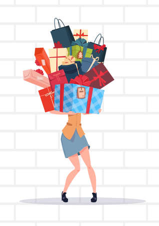 Woman Holding Gift Boxes Stack Over White Brick Wall Background Holiday Presents Concept Vector Illustration