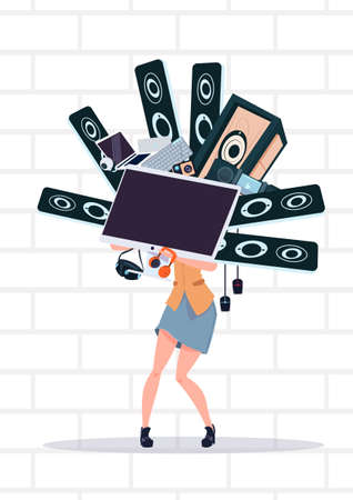 Woman Holding Computer And Modern Electronics Gadgets Standing Over White Brick Wall Cyber Monday Sale Concept Vector Illustration