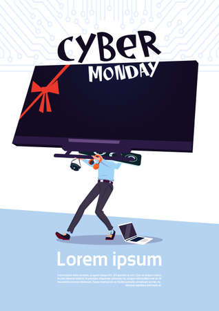 Cyber Monday Sale Poster With Man Holding Big Tv Plasma Over White Background, Template Banner With Copy Space Design Vector Illustration Illustration
