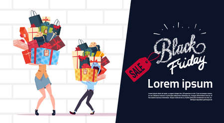 Black Friday Sale Poster With Couple Holding Gift Boxes Stack Over White Brick Wall Background, Template Banner With Copy Space Design Vector Illustration