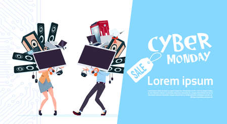 cyber woman: Cyber Monday Sale Poster With Couple Holding Different Modern Devices Over White Background, Template Banner With Copy Space Design Vector Illustration Illustration