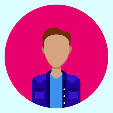 Avatar Profile Icon Male Faceless User On Colorful Round Background Flat Vector Illustration Illustration