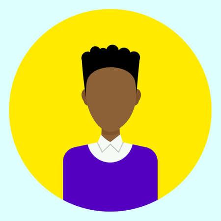 Avatar Profile Icon Male Faceless User On Colorful Round Background Flat Vector Illustration Illustration
