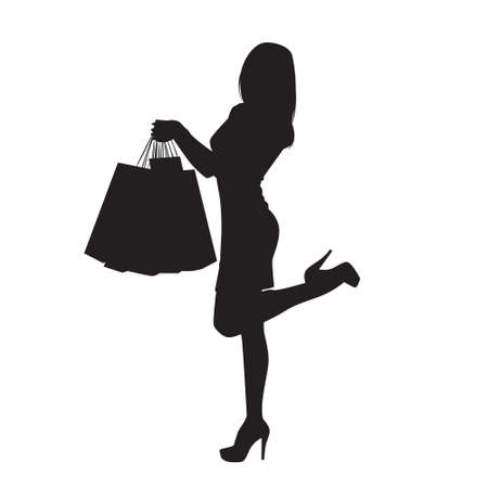 Black Silhouette Woman Holding Shopping Bags Isolated Over White Background Vector Illustration