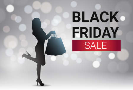 Black Friday Sale Banner Design With Silhouette Female Over White Lights Bokeh Background Holiday Discount Poster Vector Illustration  イラスト・ベクター素材