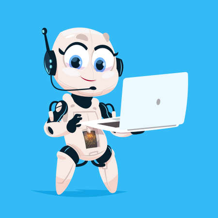 Cute Robot Hold Laptop Computer Chat Bot Robotic Girl Isolated Icon On Blue Background Modern Technology Artificial Intelligence Concept Flat Vector Illustration Vectores