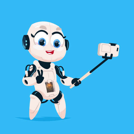 Cute Robot Take Selfie Photo Robotic Girl Isolated Icon On Blue Background Modern Technology Artificial Intelligence Concept Flat Vector Illustration Illustration