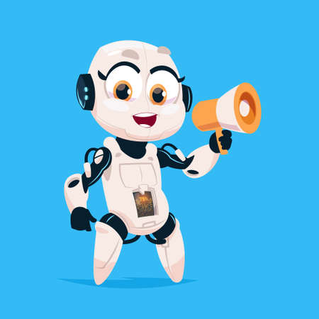 loudspeaker: Cute Robot Hold Megaphone Robotic Girl Isolated Icon On Blue Background Modern Technology Artificial Intelligence Concept Flat Vector Illustration