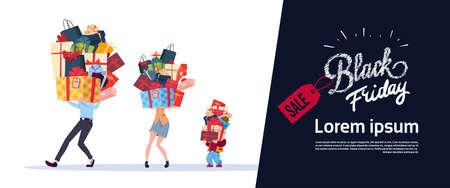 Black Friday-Plakat mit Familie tragen Stapel von Geschenken über weißer Hintergrund-Ferien-Saisonverkaufs-Konzept-flacher Vektor-Illustration