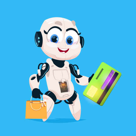 Cute Robot Hold Greeting Card And Shopping Bags Robotic Girl Isolated Icon On Blue Background Modern Technology Artificial Intelligence Concept Flat Vector Illustration
