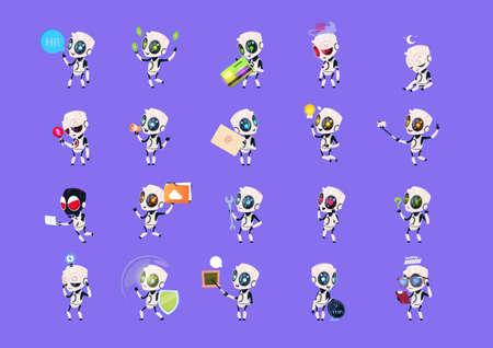 Set of cute robots icon. Vettoriali