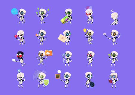 Set of cute robots icon. Illustration