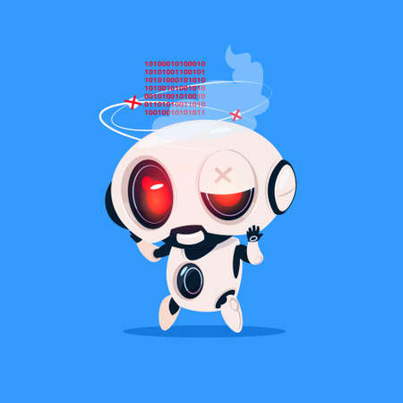 Cute broken robot. Иллюстрация