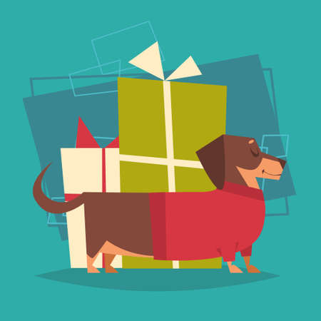 Badger Dog With Gifts Stack Box Wearing Winter Sweater Happy New Year 2018 Zodiac Symbol Icon Flat Vector Illustration
