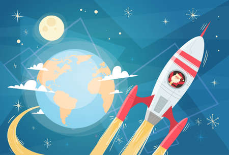 Santa Claus Flying In Space Rocket Over Earth Planet, Merry Christmas And Happy New Year Banner Flat Vector Illustration