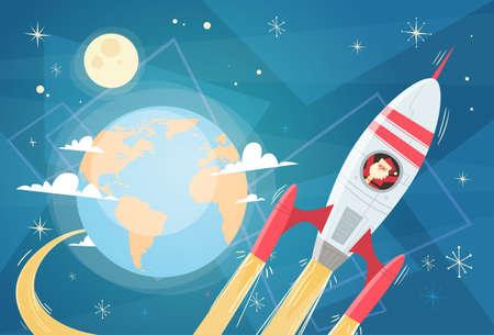 Volo di Santa Claus nello spazio Rocket sopra l'illustrazione piana di vettore dell'insegna del pianeta, del Buon Natale e del buon anno della terra