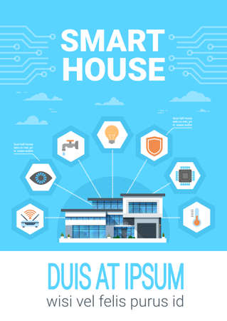 Smart Home Concept Infographics Modern House Technology System With Centralized Control Icons Banner Vector Illustration Illustration