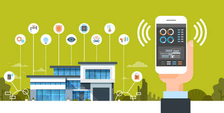 Hand Holding Smartphone With Smart Home System Control Interface Modern House Automation Concept Vector Illustration Vettoriali