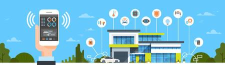 Mano que sostiene el teléfono inteligente con la interfaz de control del sistema de casa inteligente Ilustración de la casa del concepto de automatización de casa moderna