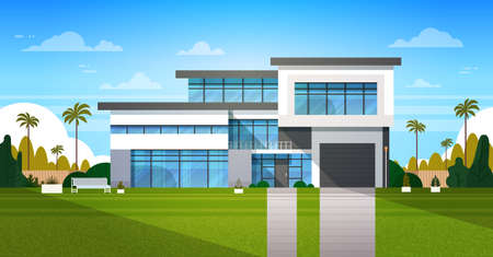 Cottage House Exterior With Backyard Real Estate In Suburb Landscape Flat Vector Illustration 矢量图像