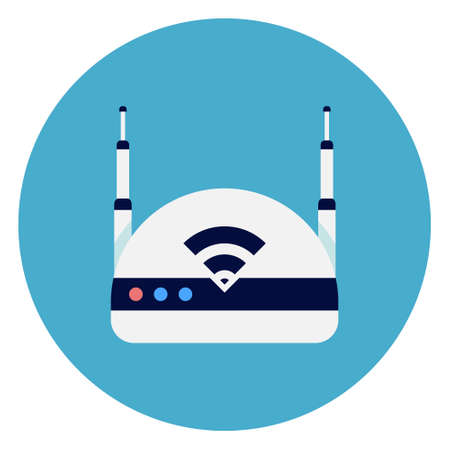 Wifi Internet Router Icon On Round Blue Background Flat Vector Illustration