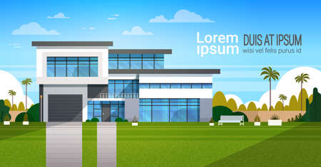 Modern Cottage House Exterior, Villa Building Banner with Copy Space Flat Vector Illustration