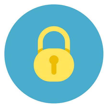 Lock icon on round blue background, flat vector illustration.