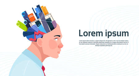 Man Head With Box With Office Stuff Digrams And Charts With Percents On White Background With Copy Space Flat Vector Illustration Illustration