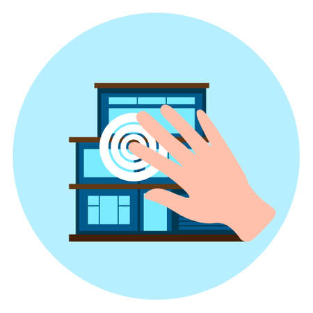 Hand Touch Smart House Icon Modern Home Control Technology Concept Vector Illustration