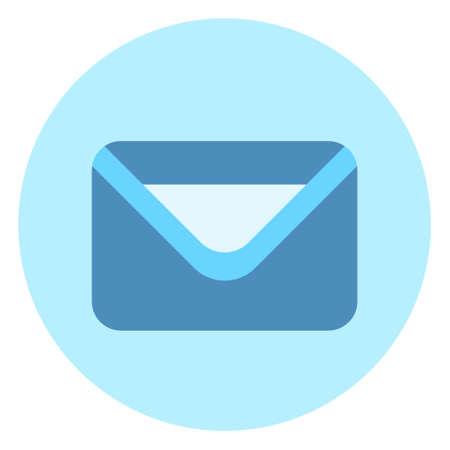 青い背景のベクトル図の封筒アイコン メール ポスト手紙ボタン