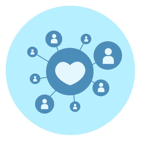 Heart shape like icon on blue background. Social media connection concept, vector illustration.