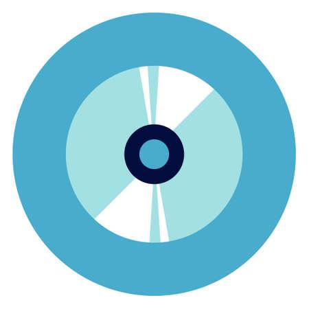 Cd disc icon on round blue background, flat vector illustration. Illustration