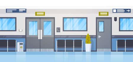 Empty Hospital Clininc Hall With Seats And Door Corridor Flat Vector Illustration