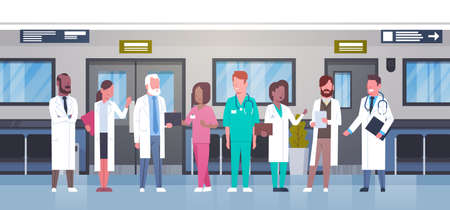 Group Of Doctors In Hospital Corridor Diverse Medical Workes In Modern Clinic Flat Vector Illustration Illustration