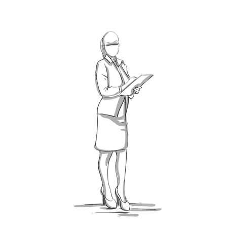 Dibuje la silueta de una empresaria que sostiene una ilustración del vector del documento
