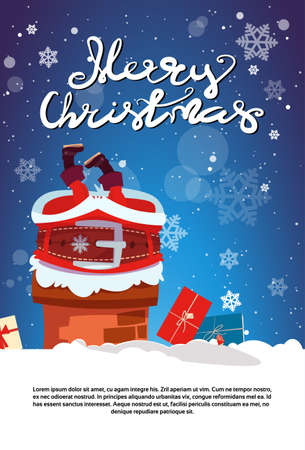 Merry Christmas Poster With Santa Claus Stack In Chimney Holiday Banner With Copy Space Flat Vector Illustration