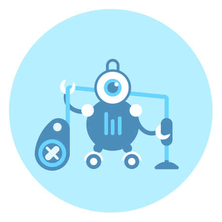 Robot Holding Vacuum Cleaner Icon Modern Housework Technology Vector Illustration