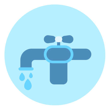 Water Tap Icon Faucet On Blue Background Vector Illustration